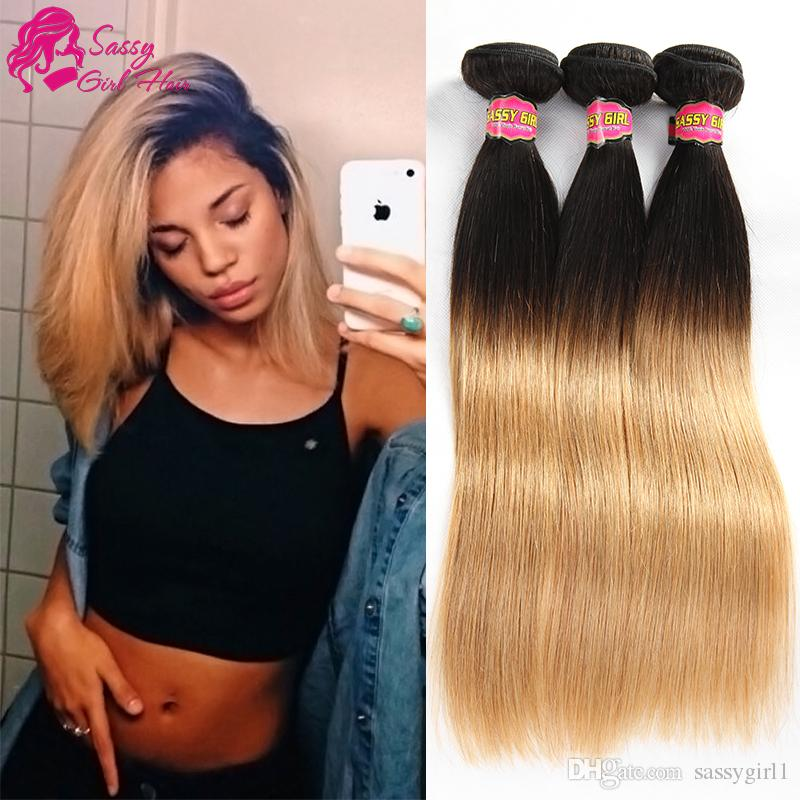 Top Quality Brazilian Virgin Hair Straight Ombre Weave Honey Blond