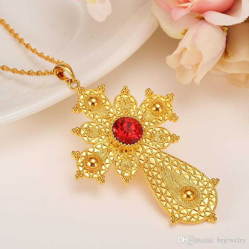 d03c438031ae3 Bangrui Ethiopian Big Cross Pendant Necklaces for Women/Men, Gold Color  Africa Ethiopia Crosses Jewelry Eritrea Items