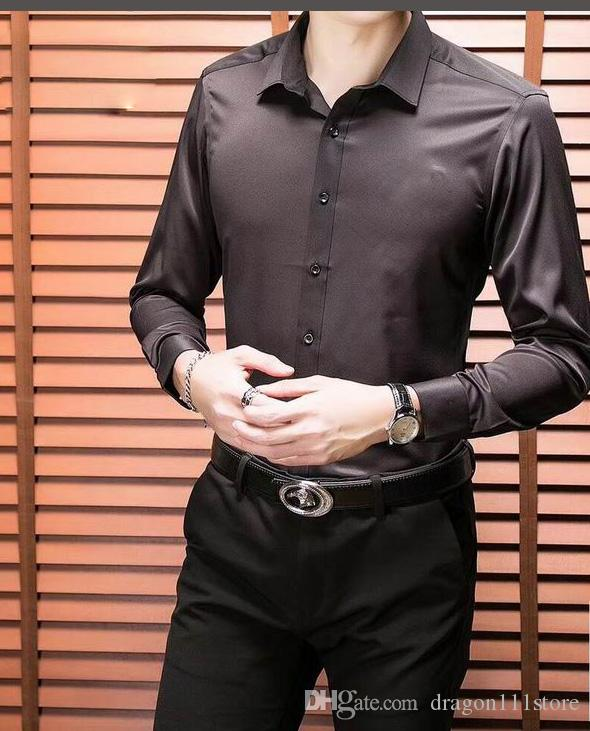 f78b40919074 Men's Slim Fit Dress Shirt Casual Men top quality fiber Casual Long Sleeves  multi color Shirt Button Down solid slim figure Dress Shirt