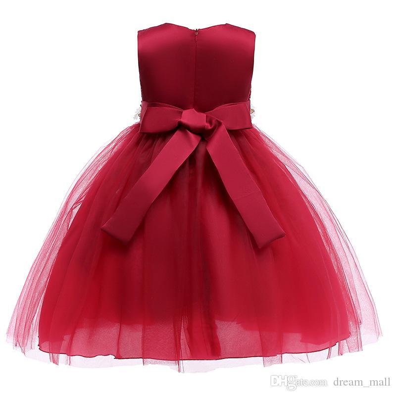 Broderie fleur fille robe ceinturée communion parti robe tutu pastorale enfants vêtements