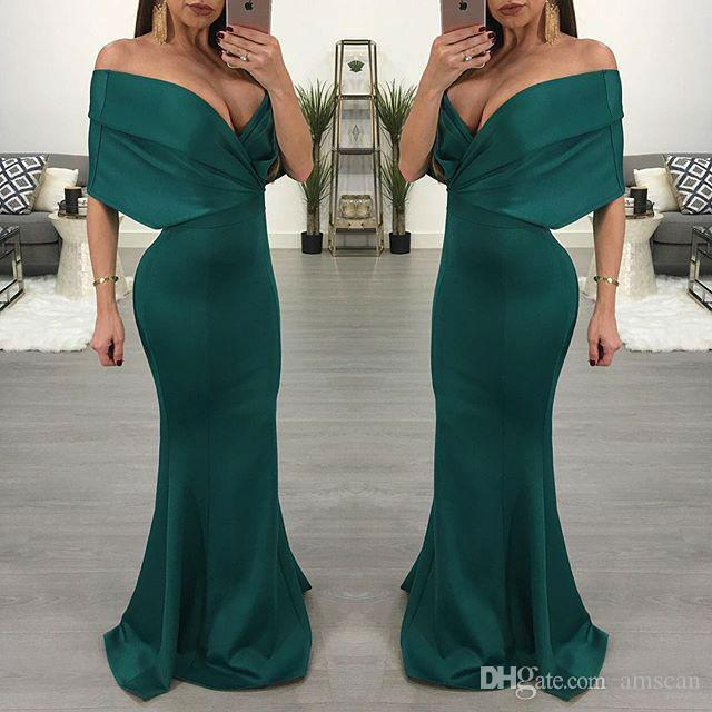 96dcc379edf4 Sexy Off Shoulder Mermaid Prom Dresses Dark Green Floor Length Fomal Evening  Gowns Satin 2019 Special Occasion Dress Plus Szie Party Dress Evening  Dresses ...