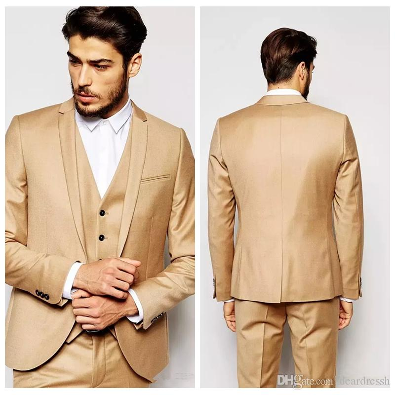 828d39539047 New Design Gold Men Wedding Suits Handsome Slim Fitted Casual Mens Suits  Groom Tuxedos Custom Made Formal Prom Suits ( Jacket+Pants+Vest)