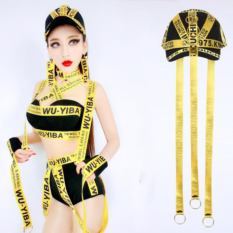 Jazz Hip Hop Dance Berretto da baseball Trendy Giallo tessitura cappello Costumi sexy Led Bar Nightclub Accessori DS Performance Wear DN1957