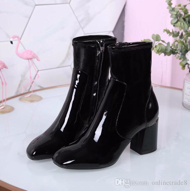 43ffa0b354b Hot Branded Leather Ankle Boots Designer Style Women Short Boots Round Toe Chunky  Heel Shoes Fashion Autumn Dress Shoes High Heels Heels From Onlinetrade8