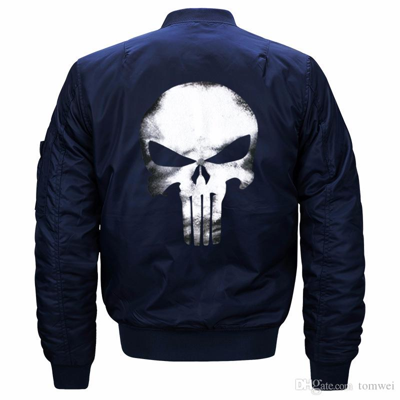 fc95816dea5a Skull Jkacets Mens Bomber Jackets Pilot Air Force One Coats Hip Hop  Clothing Spring 2018 Oversize 5XL 6XL 7XL 8XL Army Green Red Black Mens  Leather Bomber ...