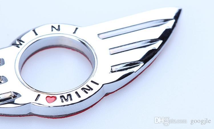 I LOVE MINI Sticker Emblem Wing Decoration BMW MINI Cooper R55 R56 R57 R58 R59 manopola di blocco porta creativa