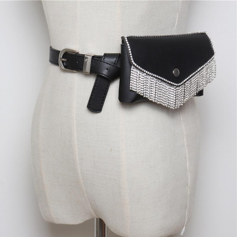 6b8bf52b65a Compre Mujeres De Lujo Bolso De La Cintura De Diamantes De Cristal Para  Mujer Fanny Pack PU Cuero Elegante Cinturón Bolso Con Borla Shine Bag Para  Fiesta De ...
