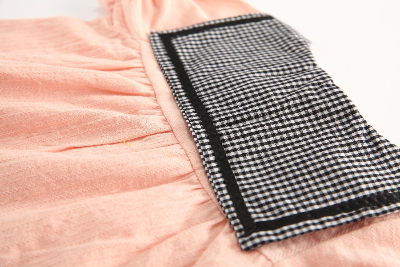 드레스 2018 INS 유럽과 미국의 새로운 도착 소녀 여름 격자 무늬 칼라 소녀 고품질 면화 귀여운 퍼프 슬리브 공주님 드레스 무료 배송