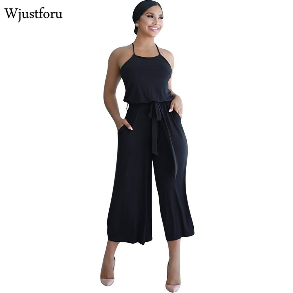 6d541b0a3e7 2019 Wjustforu Black Fashion Wide Leg Casual Jumpsuit Capri Off Shoulder  Sexy Bodycon Jumpsuit Womens Romper Elegant Bandage From Cutelove66