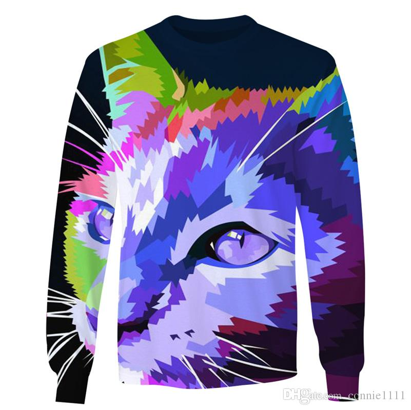 1a8db08c6b76 2019 3d Sweater Mens Sweatshirt Funny Cat Print Pullover Long Sleeve Tee  Autumn Winter Thin Pullovers Women Hoodie Unisex Sweatshirts Sweaters From  ...