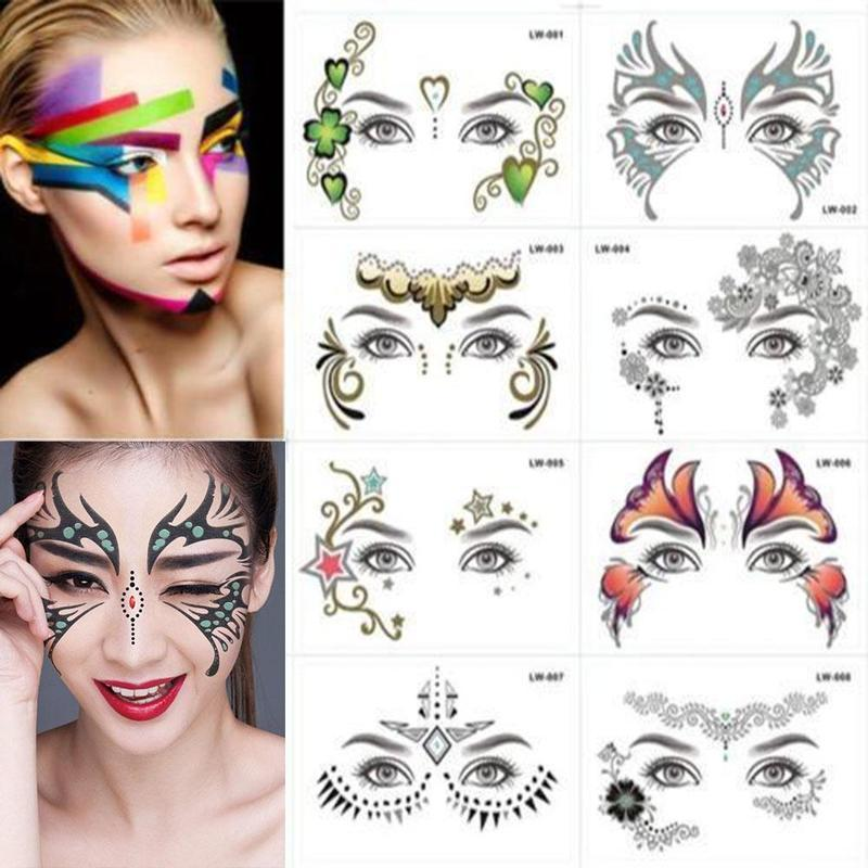 1/8PCS Fake Temporary Tattoo Sticker Face Mask Tattoo for Women Long  Lasting Waterproof 8 Style Temporary Face Sticker