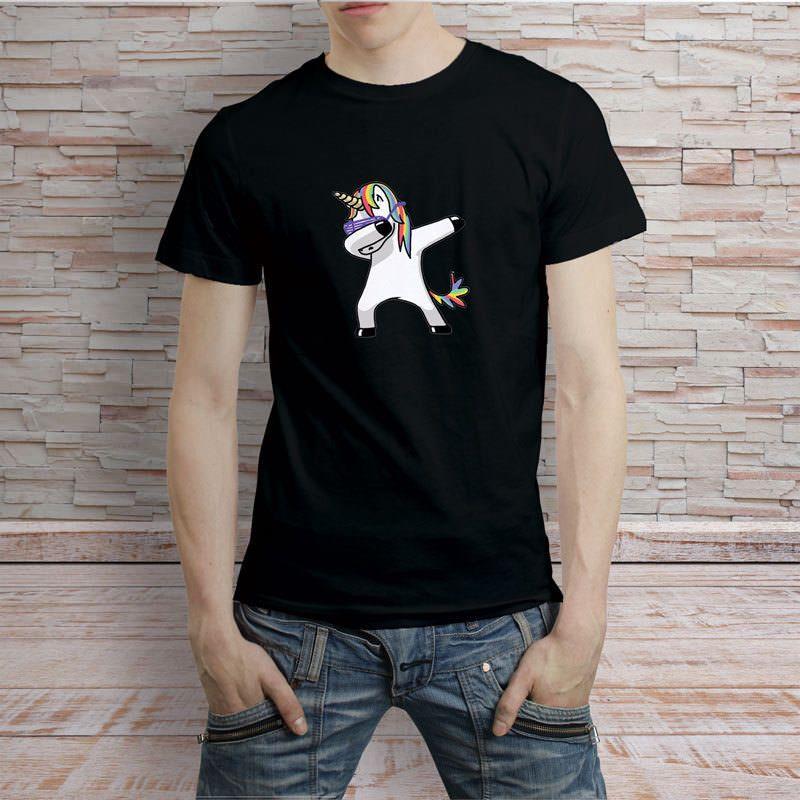 5de0abb7 Dabbing Unicorn Cartoon Hip Hop Black T Shirt Tee Mens 2018 Fashion Brand T  Shirt O Neck 100%cotton Awesome T Shirt Sites Tees Designs From  Temperamenttee, ...