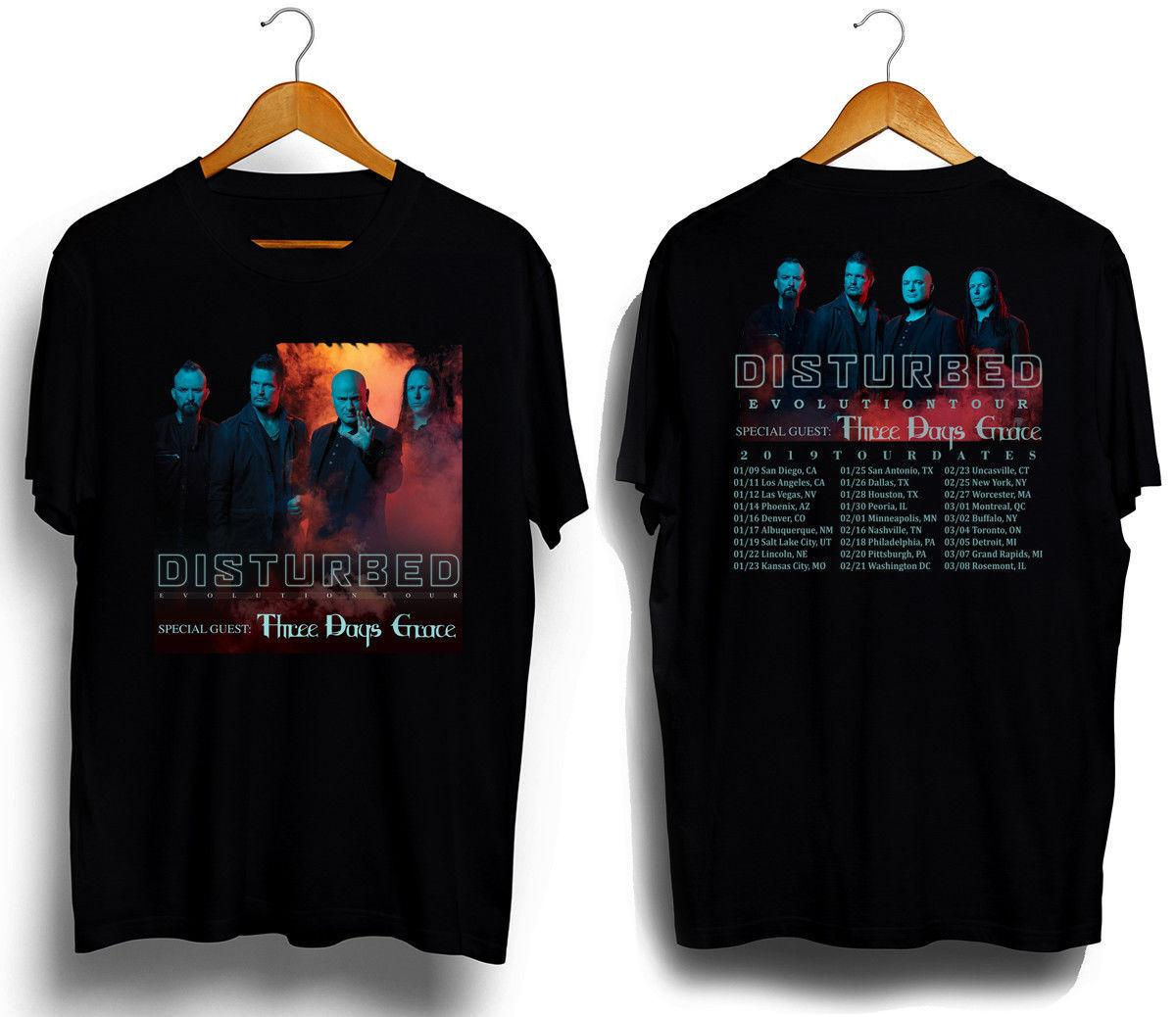 bbb6f8ea Disturbed and Three Days Grace Tour dates 2019 New T-shirt all size free  shipping wholesale Men's Short Sleeve new Summer Printed