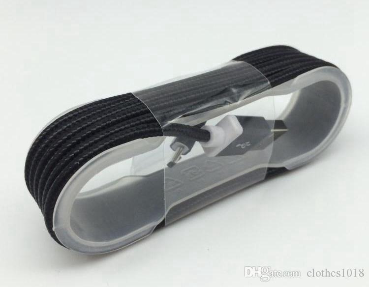 1.5M 5FT Cable trenzado USB duradero tipo C para Samsung HTC Sony Teléfonos con conector de cabeza de metal