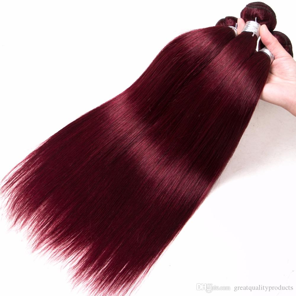 10A Grade colored Brazilian Hair Weave Bundles Straight 3 Bundles 99J Red Color Remy Hair 8-30 Inch