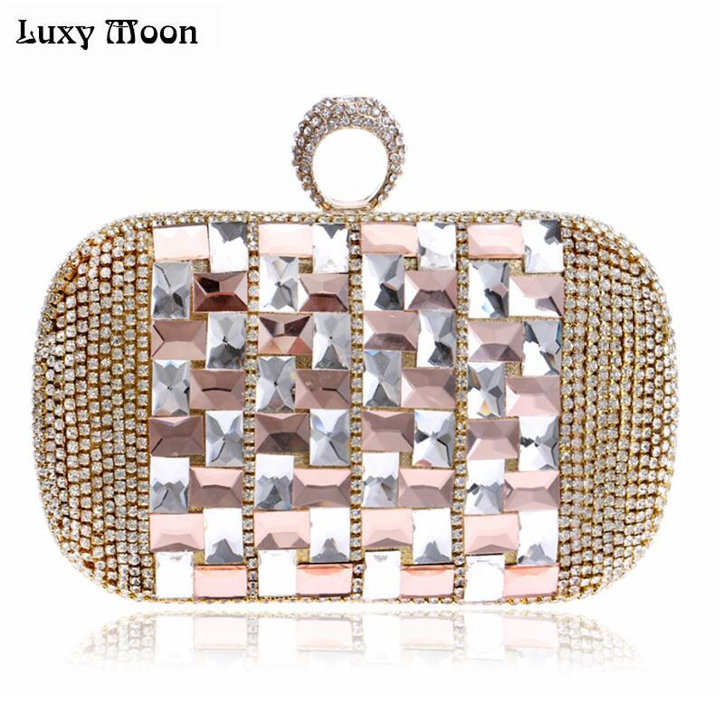 Top Shinny Silver Rhinestone Evening Bag Crystal Gold Clutch Bags Bride Banquet Bling Blue Clutches small shoulder bag W734