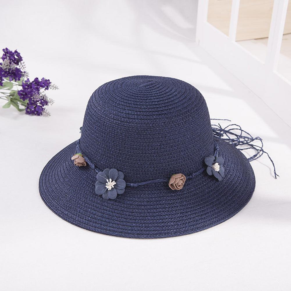 f0941cf866d Women Straw Sun Hat Wide Brim Flower Decor Casual Summer Beach ...