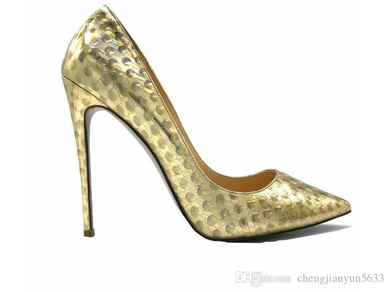 2018 Fashion New Sexy Girls Shoes Women Lady Woman High Heels Pumps 12cm  Gold Slip On Pointed Toe Wedding Shoes Bride Geox Shoes Dress Shoes For Men  From ... b7ed6bde2a34