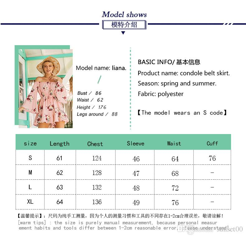 Women Jumpsuits Floral Printed Strapless Blouse Folded Bare Shoulder Horn Sleeve Holiday Beach Loose Sexy Elegant Ladies Rompers Pink