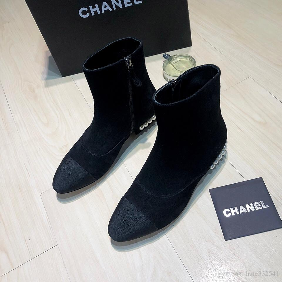French luxury goods retailers sell CihaneI casual pearl Zip Ankle Boots  womens casual boots womens Fashion casual boots 35-40