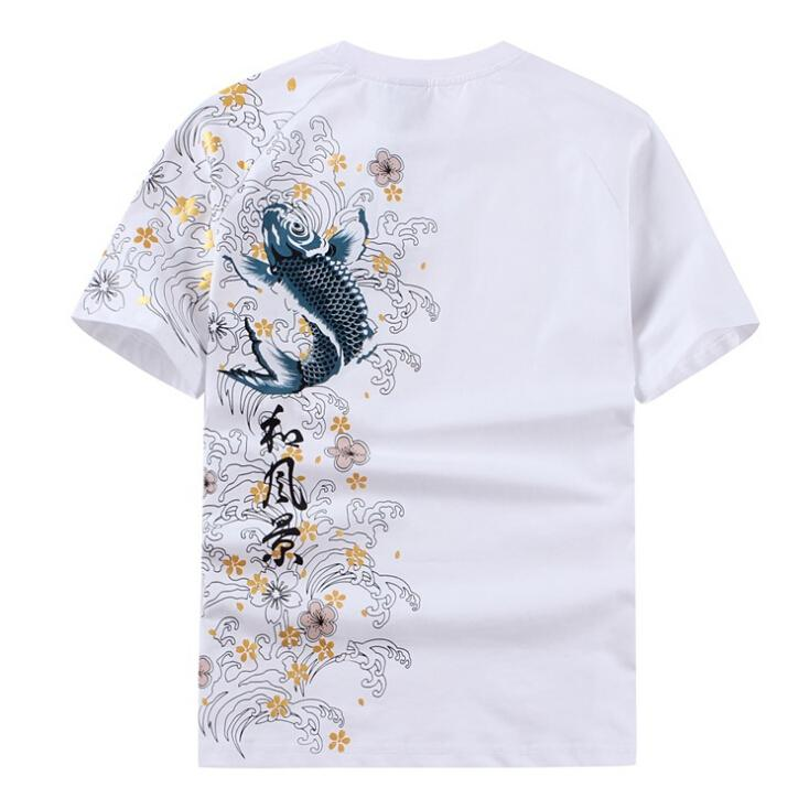 27014cbb732 Mens Short Sleeved T-shirt Embroidered Carp 1 2 Sleeve Summer Tattoo ...