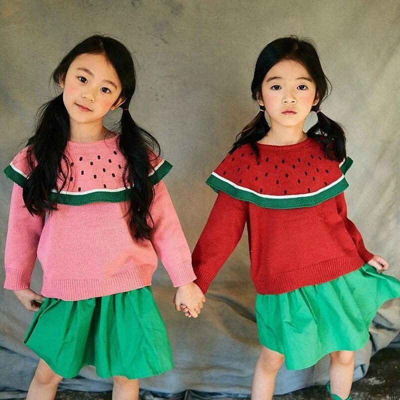 Ins Fashion Watermelon Design Girls Sweaters Children Pullover