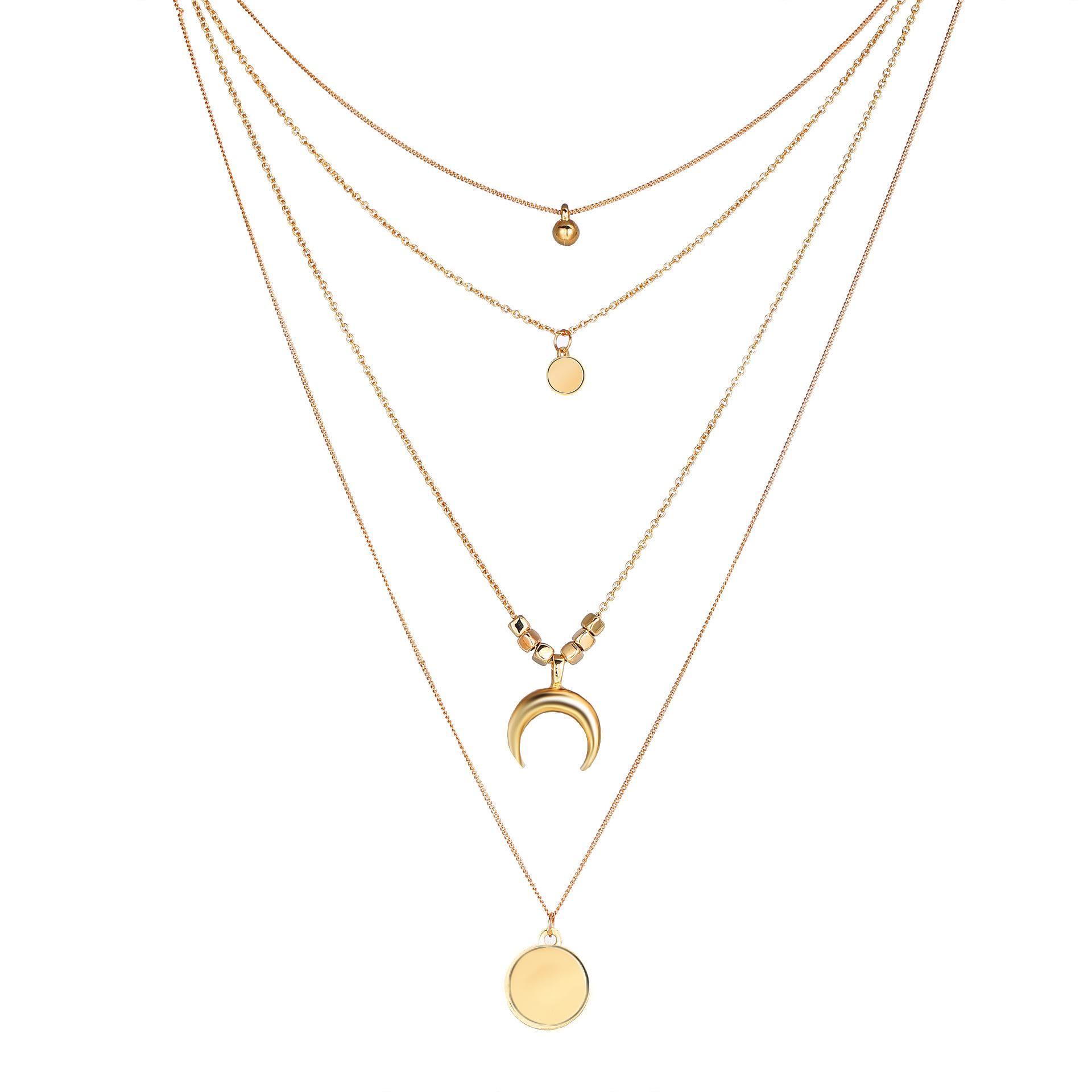 5c98319262 Wholesale Jewelry Fashion Personality Multi Layer Moon Round Film Pendant  Female Necklace Wholesale Horse Pendant Necklace Cute Pendant Necklaces  From ...