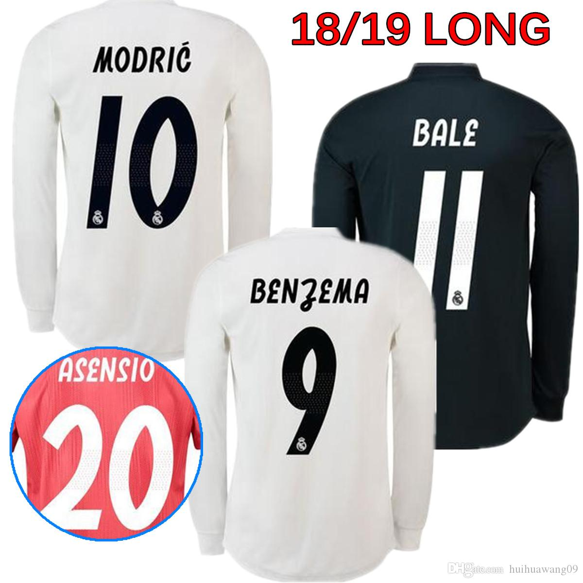2019 2018 2019 Long Sleeve Real Madrid Jerseys Football 18 19 BENZEMA ISCO  BALE SERGIO RAMOS MORATA ASENSIO MODRIC Men Soccer Jerseys Long Shirt From  ... 79658c12d