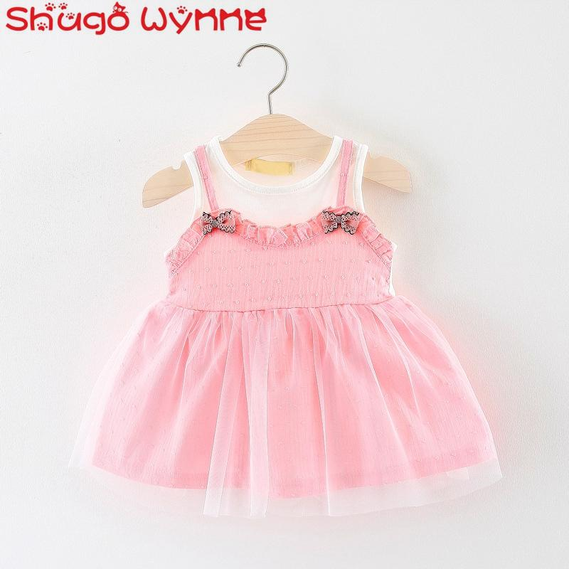 14d0f36bb0 2019 Baby Girls Summer Sleeveless Patchwork Mesh Cute Bow Tutu Dress Kids  Infant Birthday Party Sundress Vestidos From Moongate