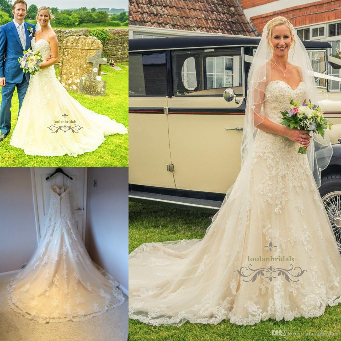 Sleeveless Beading Crystal Diamante Lace Sequin Wedding Dress A Line ...