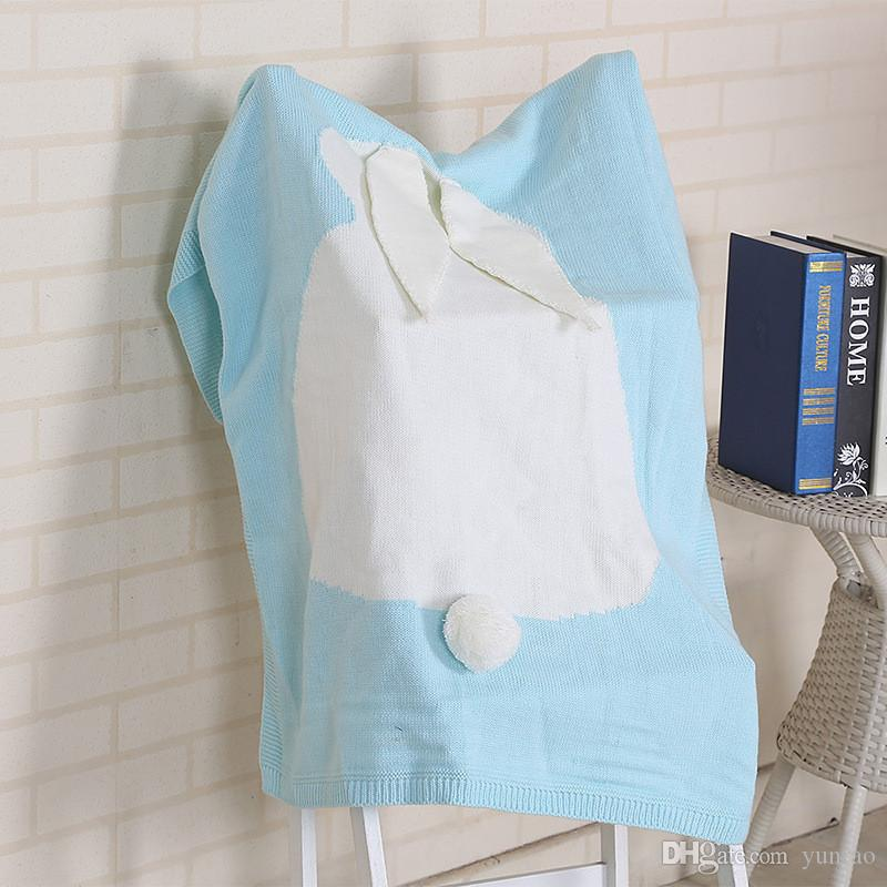 Couvertures bébé tricotées blanc gris rose lapin Crochet couverture nouveau-né enfants literie personnalisée couverture doux bébés accessoires de photo 6 couleurs