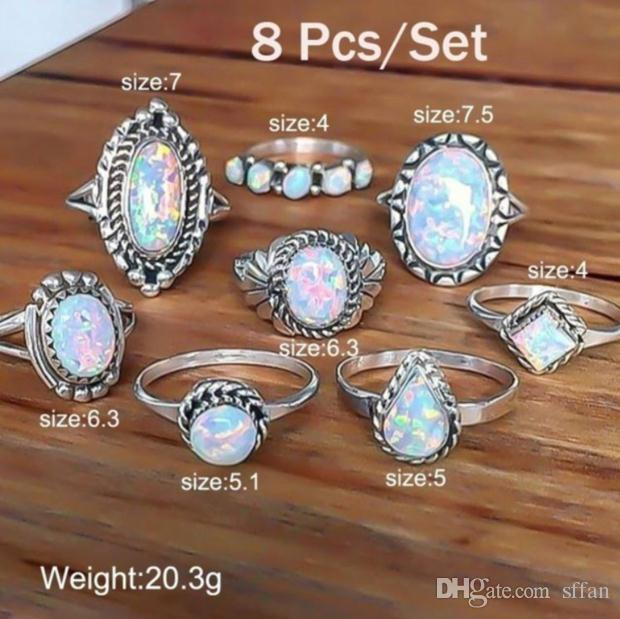 8 Pçs / set conjunto de anéis de prata esterlina gemstone natural opala de fogo anel de diamante anel de noivado de casamento jóias retro simples conjunto