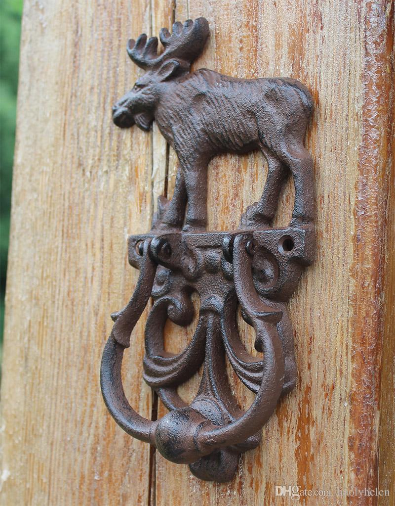 2 Parça Rustik Dökme Demir Elk Moose Dekoratif Kapı Tokmağı Geleneksel Vintage Stil Kapı Kolu Kapı Mandalı Ülke Kapısı Dekor Ücretsiz Gemi