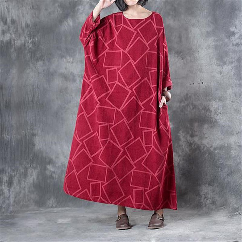6127863af0 2019 BUYKUD Fashion Batwing Sleeve Maxi Plus Size Dress Spring Autumn  Casual Linen Dress Geometry Pattern Pocket Red Vintage From Vanilla10