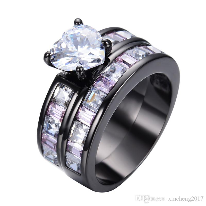 2018 New Crystal White Heart Women Pink Ring Sets Black Gold Filled