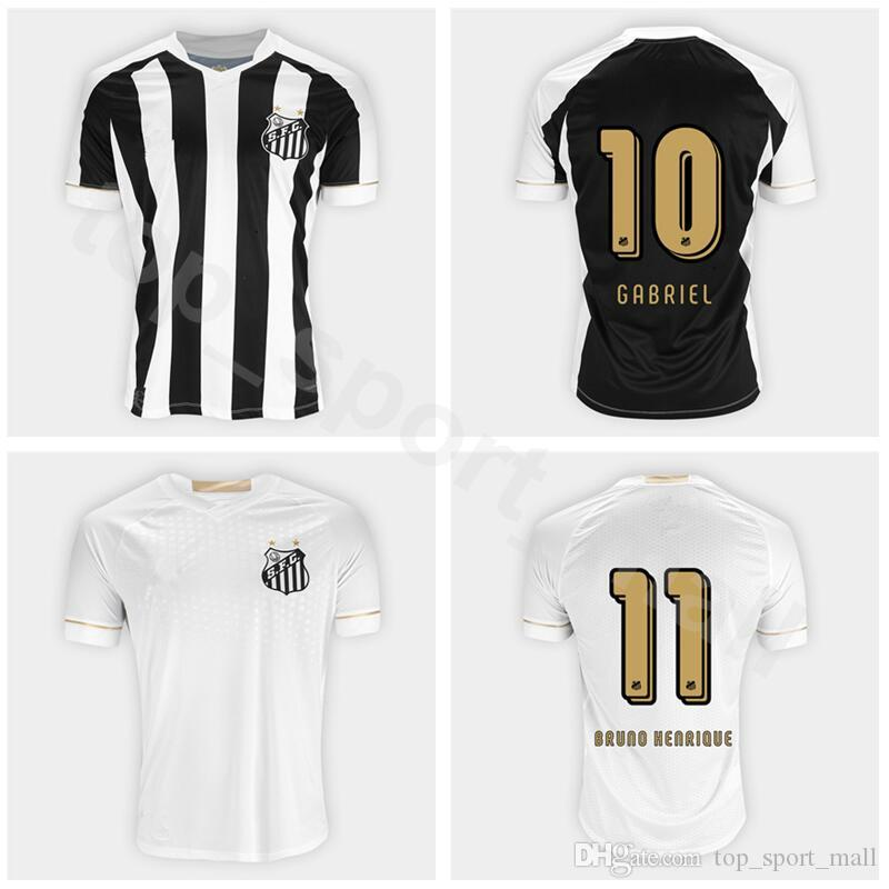 2019 Camisa De Futebol Santos FC Soccer 10 Gabriel Barbosa Jersey Men 11  Bruno Henrique 7 Carlos Sanchez Football Shirt Kit Black Team White From ... 350d85a1956ff