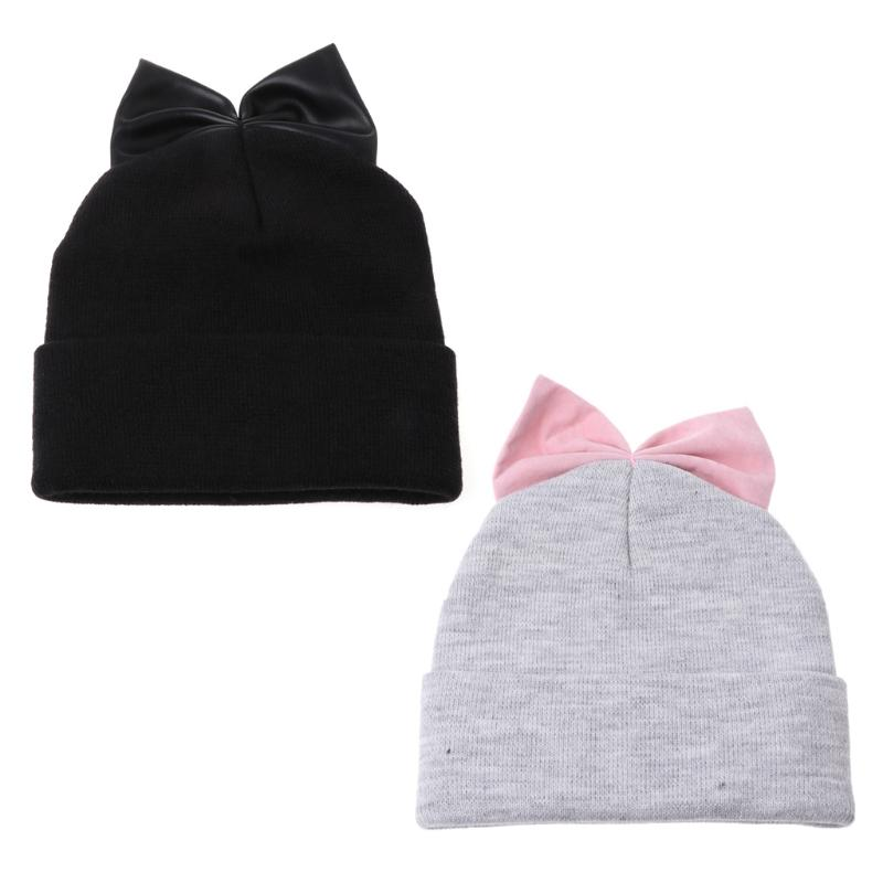 a58b58f7dce Ladies Double Pompom Women Winter Hats Girl Warm Slouchy Bowknot ...