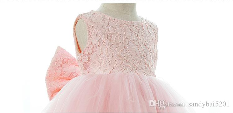 Party Dress Kids Girl Lace Flower Christening Wedding Dresses 1-10 ys Princess Baby Girls Bow Birthday Dress Costume 2018 Children Ball Gown
