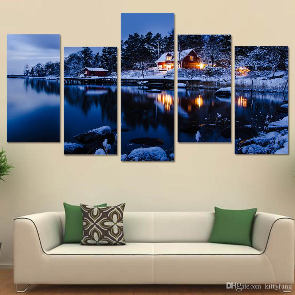 winter snow lake house Landscape Decoration Wall Art Pictures Canvas Paintings For Living Room Poster Prints
