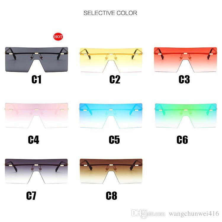 sobredimensionada óculos óculos de sol por Mulheres colorido Praça Lens Sun Óculos Feminino Gradiente Unisex Beach Tour férias Espelho Shades