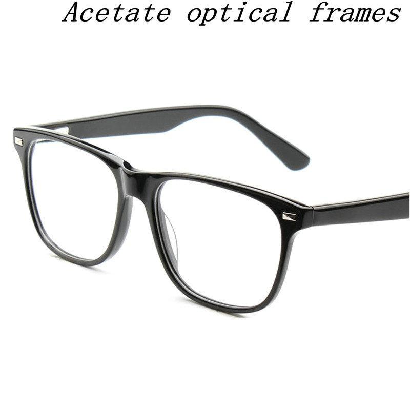 f9b70d1dc2 Compre 2018 Square Glasses Acetato De Aleación Óptica Del Marco De Anteojos Lente  Lentes De Prescripción Gafas Delgadas Retro Hombres Mujeres Gafas FML A ...