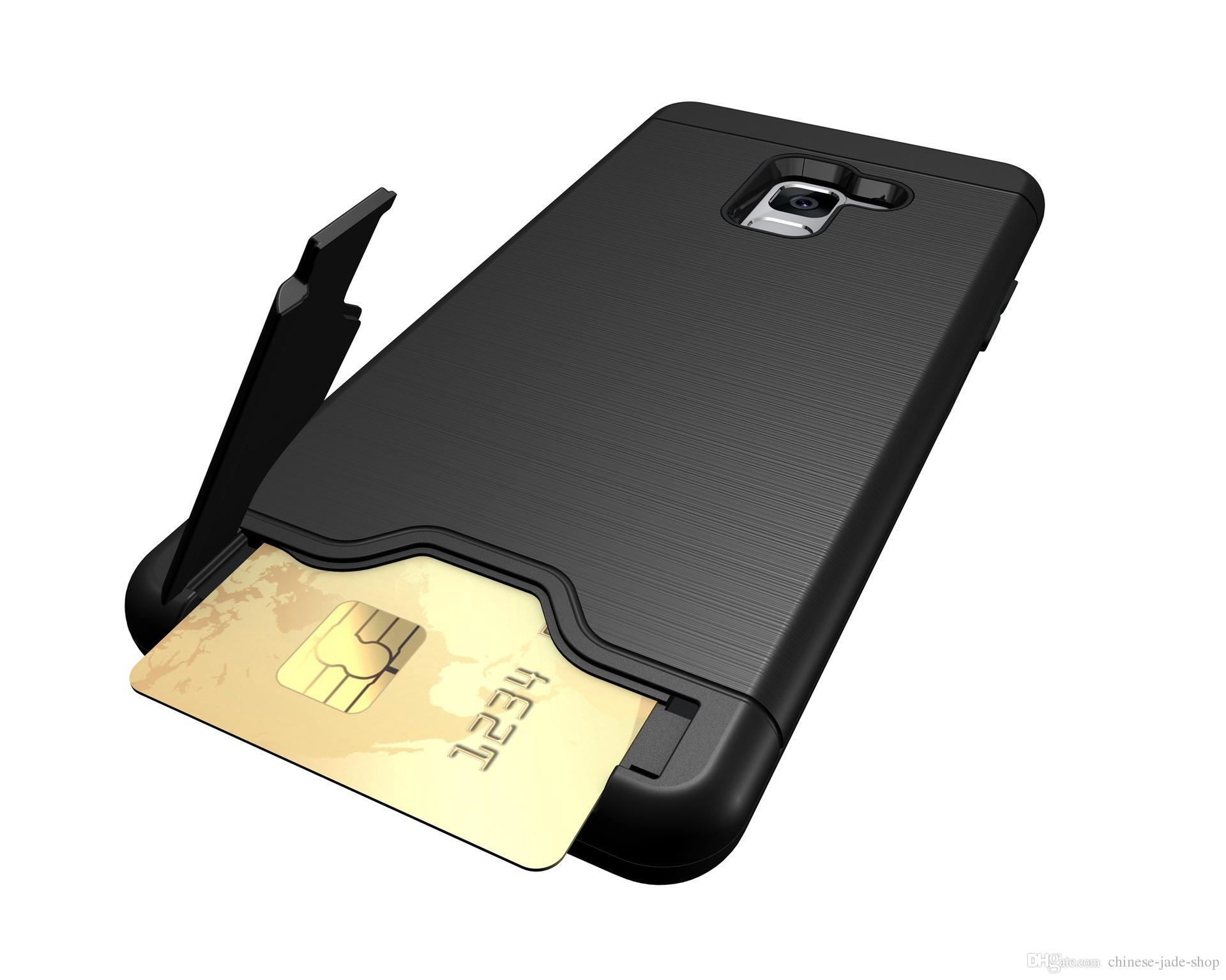Silikon Handyhüllen Für Samsung Galaxy A7 2017 Pixel 2 Xl A8 2018 A8 Plus 2018 2in1 Hybrid Rüstung Gebürstet Halter Kreditkarte Tasche Abdeckung Fall