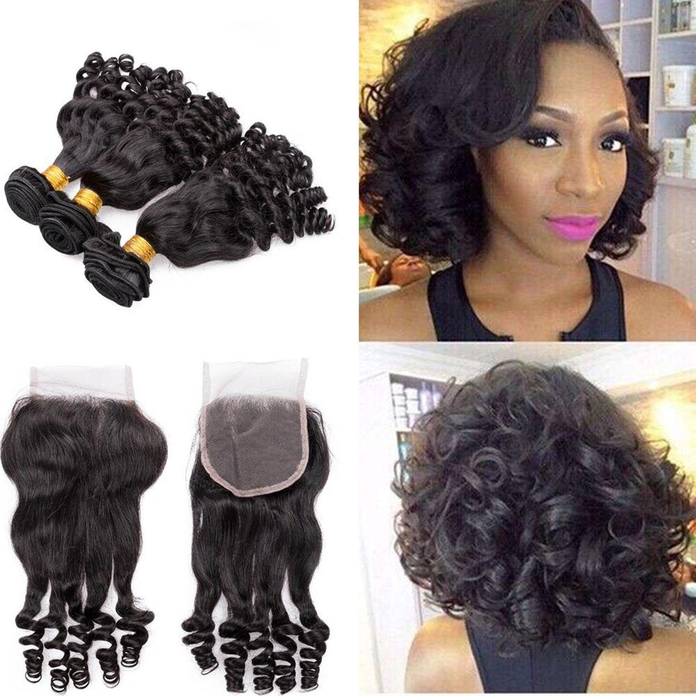 Brazilian Aunty Funmi Hair 3bundles With Lace Closure Romance Curl