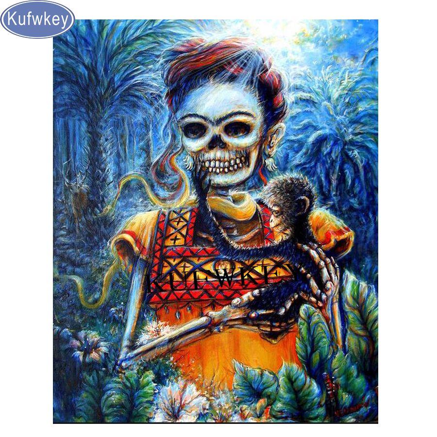 Satın Al Sticker Diy Elmas Boyama Tam Kare Iskelet Frida Kahlo