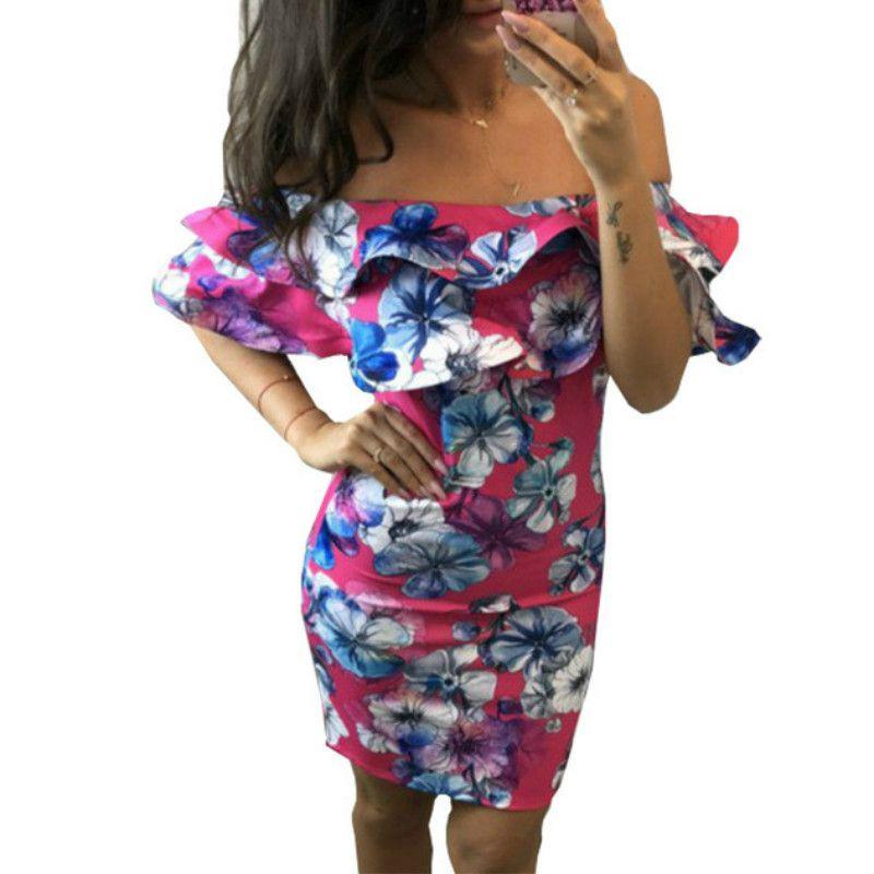 baf43fb7c35f6 Women Summer Dress 2018 Ruffles Bodycon Package Hip Mini Dress Sexy Slash  Neck Plus Size Femme Boho Printed Floral Dresses GV098