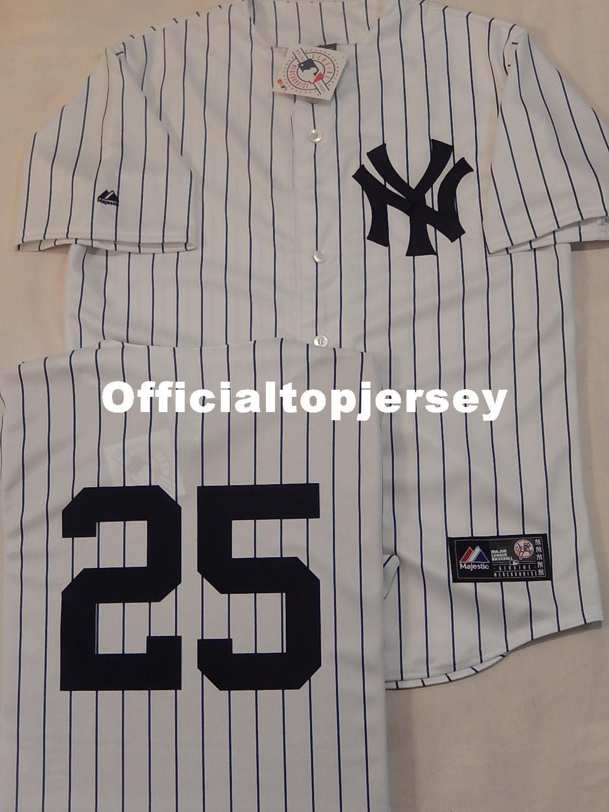 premium selection 5a200 ee801 Cheap custom MAJESTIC New York #25 MARK TEIXEIRA Sewn Baseball Jersey WHT  P/S New Mens stitched jerseys Big And Tall SIZE XS-6XL For sale