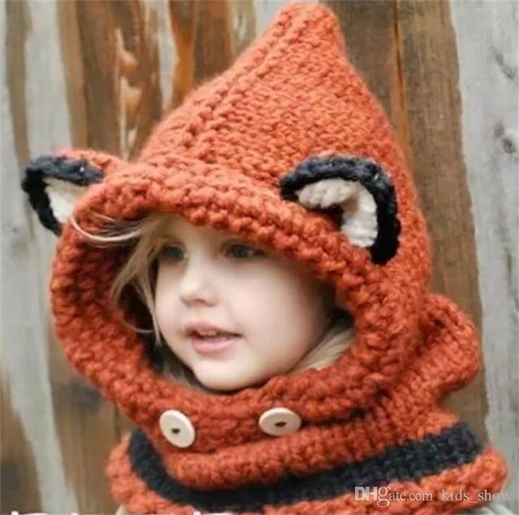 7b0cfc3fb70 2019 Cute Children Fox Animal Hats Kids Soft Knit Coif Fox Hood Scarf  Beanies For Fall Winter Girls Fox Scarf Cap From Kids show