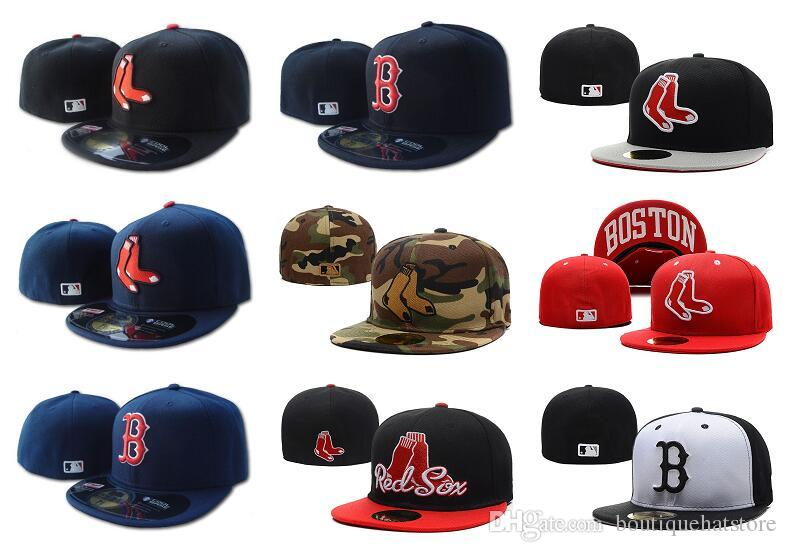 18f9ba9e859 Men S Red Sox On Field Naby Blue Fitted Hat Flat Brim Embroiered B Letter  Team Logo Fans Top Quality Baseball Hats Red Sox Full Closed Caps Leather  Hats The ...
