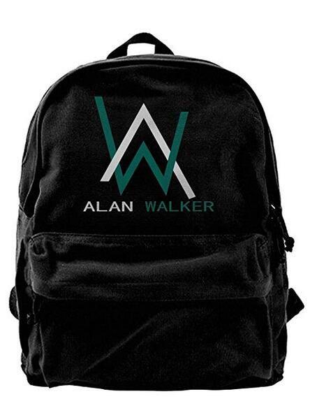 a49ebe080df Alan Walker Logo Canvas Shoulder Backpack Latest Backpack For Men & Women  Teens College Travel Daypack Black