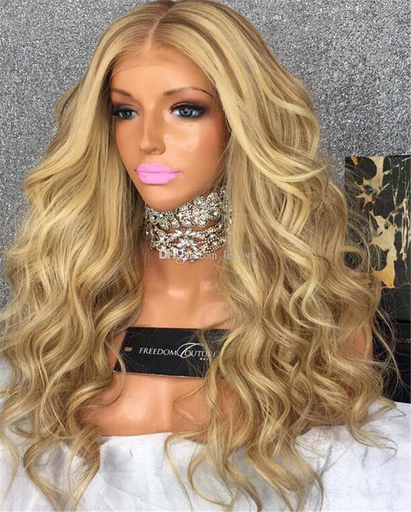Peluca de encaje brasileña de alta calidad 613 peluca llena del cordón Glueless Peluca de frente del cordón Bpdy onda Pelucas de cabello humano con la despedida libre